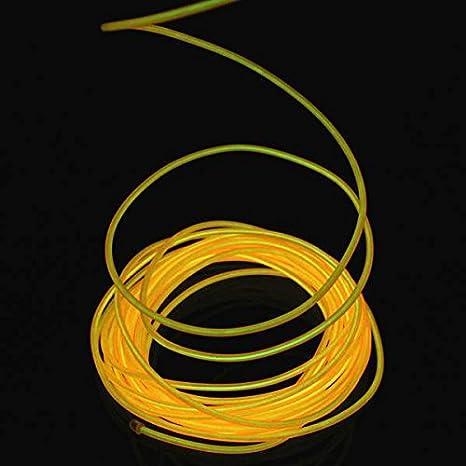 AUDEW 5M Neón EL cable flexible de luz LED Automóviles neón brillante electroluminiscente (EL Wire) de Partido luz Decoración 10 colores Amarillo: ...