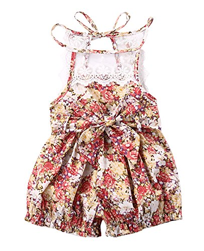 Baby Girls Lace Cotton Floral Rompers Toddler Sleeveless Jumpsuit Sunsuit Outfits(3-6M, floral) (Romper Cotton Floral)