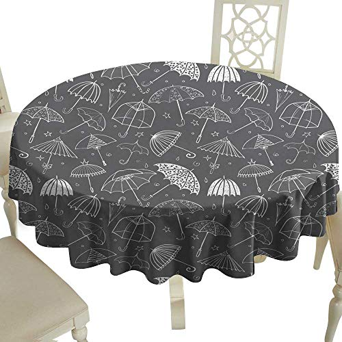 Decorative Textured Fabric Tablecloth Seamless pattern with umbrellas on black background Can be used for wallpaper pattern fills textile web page background surface textures Great for Buffet Table D