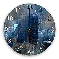 hiusan Black Retro Grey Navy Blue Modern Wood Wall Clocks Decorative Silent 12 in for Living Room Home Decor Wall Art
