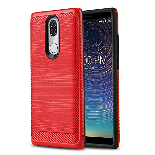 Phone Case for [COOLPAD Legacy (Metro PCS, T-Mobile)], [Modern Series][Red] Shockproof Dual Layer Hybrid Brushed [Impact Absorption][Defender] Cover for Coolpad Legacy (Metro PCS, T-Mobile) (For Metro Cases Pcs Phones)