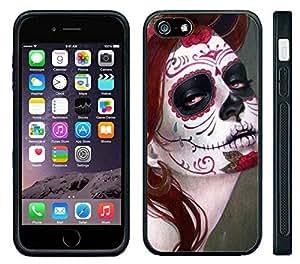 Apple iPhone 6 Black Rubber Silicone Case - Sugar Skull Girl Day of Dead Dia de Los Muertos Girl