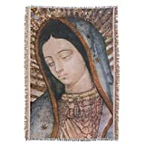 Hispanic World Our Lady of Guadalupe Virgin Tilma Bust Blanket Prayer Throw Blanket Tapestry Tapiz
