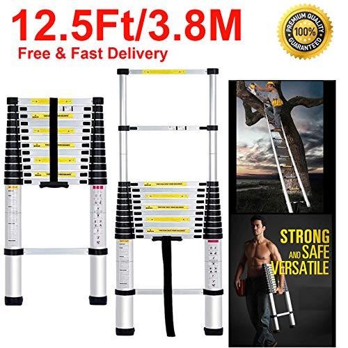 Aluminum Telescopic Portable Adjustable Folding Extension Ladder 12.5 Ft/3.8M - EN131 Certified - Lightweight Compact Multi-Purpose Telescoping Extendable Non-Slip - 330 lbs Max Capacity