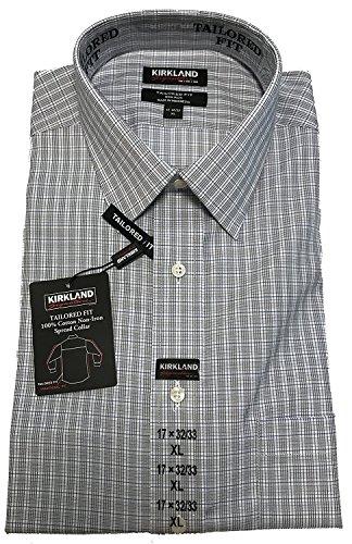 (Kirkland Signature Mens Large 16-32/33 Tailored Fit Dress Shirt, Blue/Multi)