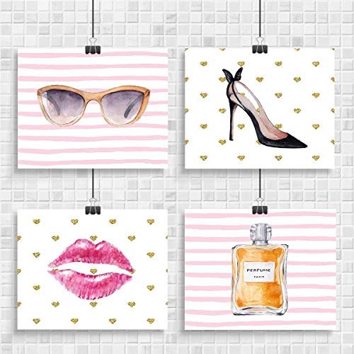 "(Female Glam Wall Art - Set of 4-8""x10"" Unframed Digital Watercolor Drawings Decor Prints - Makes a Great Gift Under $20 for Wife, Mom, Girlfriend, Sister or other Female.)"