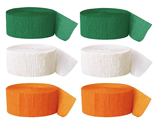 Happy St. Patrick's Day Streamers - Colors of the Irish Flag - 2 Rolls Each Green, White, Orange ()