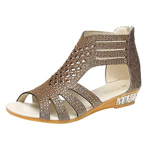Women's Wedge Sandals Bohemia Beach Shoes Fashion Crystal Bling Hollow Out Roman Shoes Gold