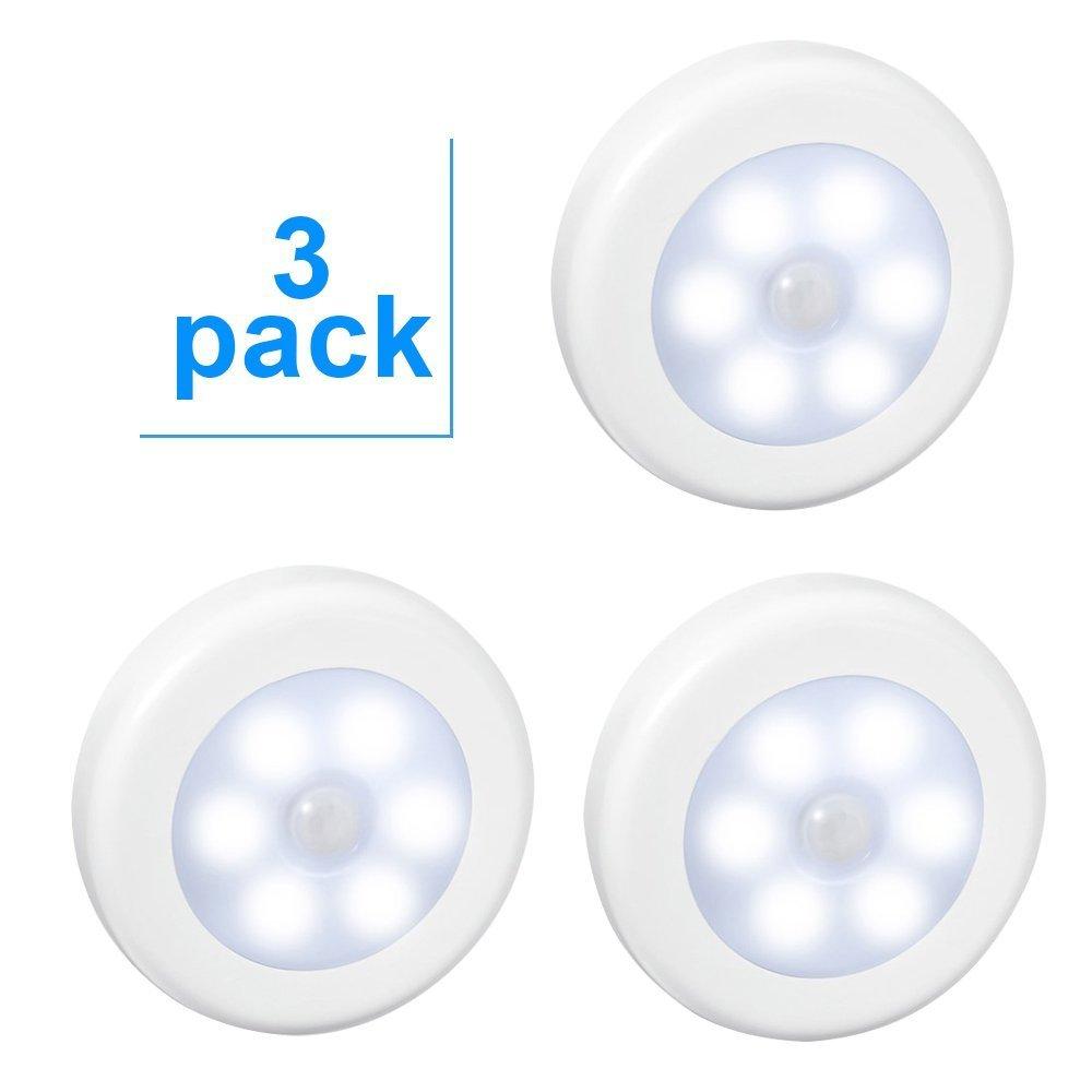 Aiguozer- Paquete de 3 unidades LED con sensor de movimiento de luz nocturna. Luces de armario LED con sensor de movimiento PIR (infrarrojo pasivo) que ...