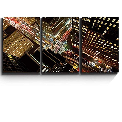 wall26 3 Piece Canvas Print - Contemporary Art, Modern Wall Decor - Eagle Eye View of 42nd Street in New York City - Giclee Artwork - Gallery Wrapped Wood Stretcher -