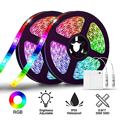 LED Strip Lights Battery Operated,SOLMORE 6.6FT/2M RGB LED Light Strip SMD5050 60 LEDs Waterproof Rope Lights Led Lights for Room Color Changing Flexible LED Strip Kit for Party Indoor Outdoor (2Pcs)