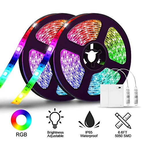 LED Strip Lights Battery Operated,SOLMORE 6.6FT/2M RGB LED Light Strip SMD5050 60 LEDs Waterproof Rope Lights Led Lights for Room Color Changing Flexible LED Strip Kit for Party Indoor Outdoor (2Pcs)]()
