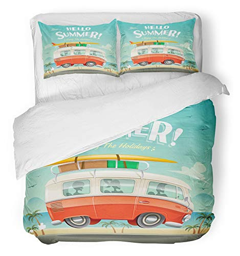 (Emvency 3 Piece Duvet Cover Set Breathable Brushed Microfiber Fabric People Hello Summer Camper Van Vacation Vintage Happy Beach Australia Surf Copy Bedding Set with 2 Pillow Covers Full/Queen Size)