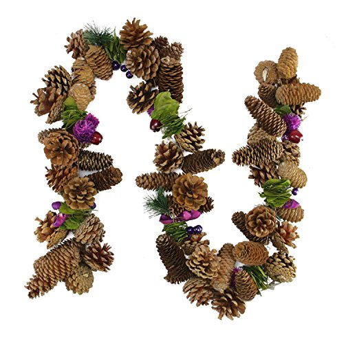 Northlight Unlit Decorative Brown/Purple Pine Cone and Berry Artificial Christmas Garland, 5'