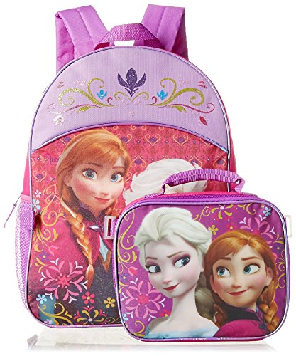 Disney Girls' Frozen Elsa and Anna Backpack with Lunch Kit