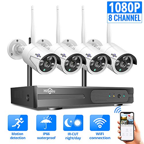 [8CH Expandable] Hiseeu 1080P Wireless Security Camera System with One-Way Audio, 4Pcs Outdoor/Indoor WiFi Surveillance…