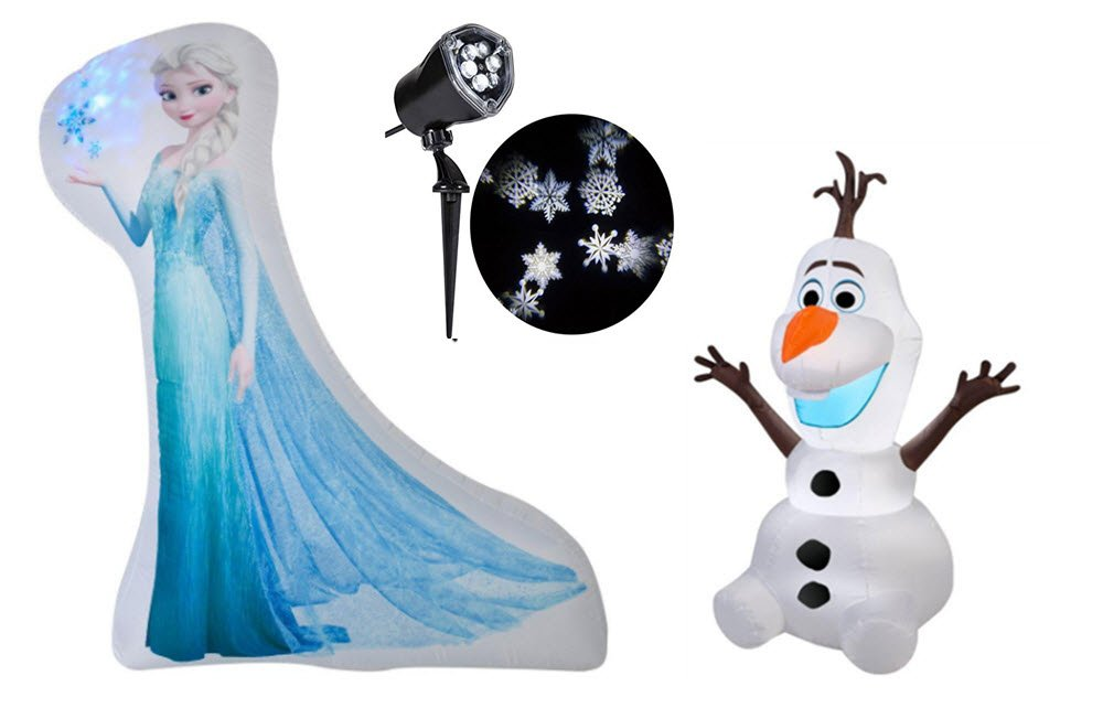 Frozen Elsa Photorealistic Inflatable 5', Olaf Inflatable 3.5' & Ornate Snow Flurry Whirl Motion Stake Light Bundle by Gemmy (Image #1)