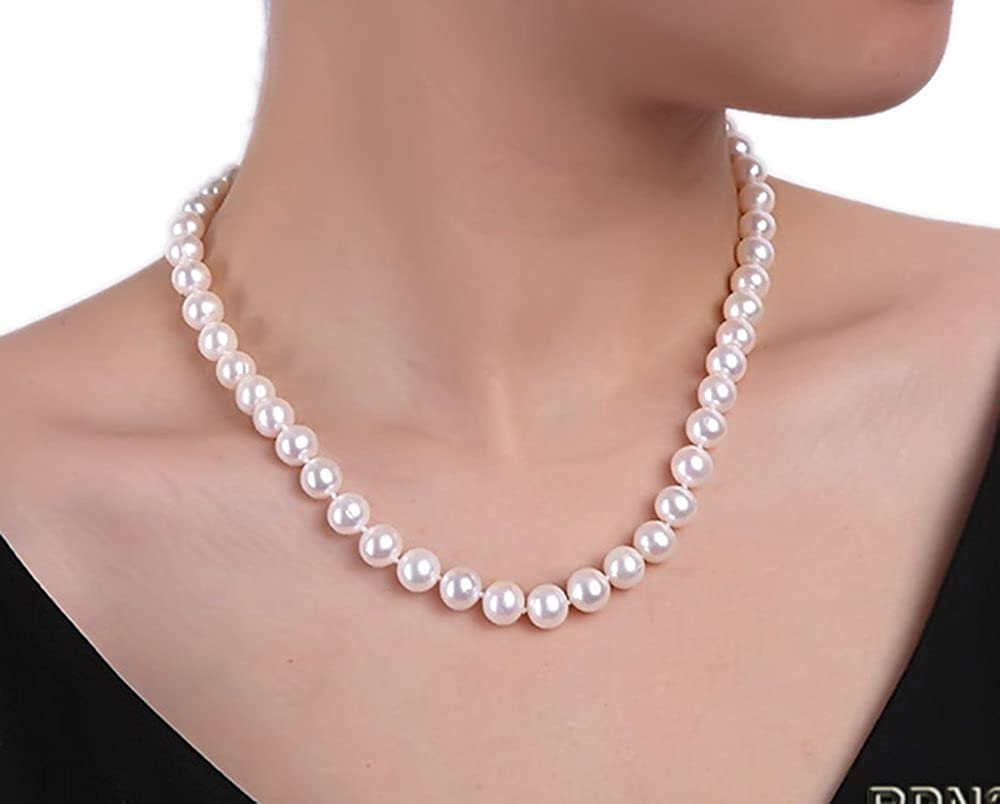 JYX 9mm AAA-grade Classic White Round Freshwater Pearl Necklace JYX Pearl RPN204
