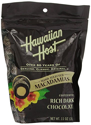Premium Hawaiian Host Rich Dark Chocolate Macadamia Nuts (LARGE 11 Ounce Resealable Bag) delicious and perfect for holiday gifts ()
