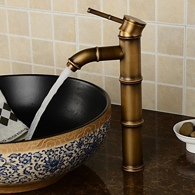 Vessel Bath Sink Bamboo (Tap Deck Mounted Antique Brass Wealth Bamboo Faucet Bathroom Vessel Sink Mixer Tap 2016 Factory Direct Brass Classic Design Style)