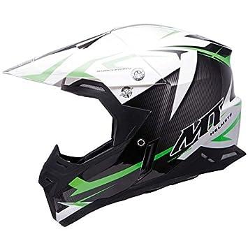 Casco MT SYNCHRONY STEEL moto cross, color negro, blanco y verde negro/blanco