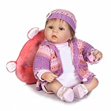 Soft Stylish Vivid 16'' Silicone Reborn Nurturing Dolls Babies Hug Real Like Newborn Bebe Toddler Realistic Reborn Bone Doll Toy Xmas Gift,Brown Eyes?16 Inches About 40Cm for Patients with Anxiety Disorder