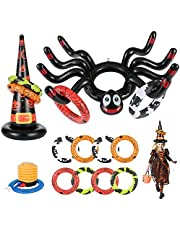 14 Pack Halloween Ring Toss Game Huge Inflatable Spider Witch Hat Toss Game for Kids Adults Halloween Party Favor Game Toys Outdoor Activities Game Spider