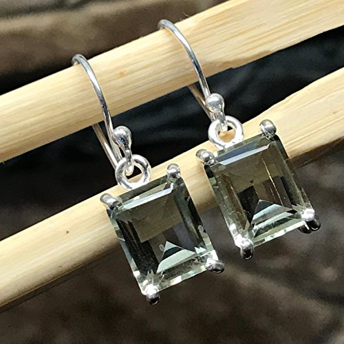 Natural 3.5ct Prasiolite Amethyst, Green Amethyst 925 Solid Sterling Silver Earrings 25mm Long ()