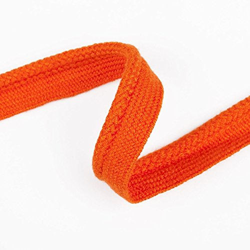 Neo 12mm Flanged Insert Piping Tape,7mm Hoddies Drawstring Cotton Cord String for Ties, Upholstery & Sewing. 21 Stunning Colours, High Strength Cotton Nylon, Beautiful Handle (Orange 12mm 5 Yards)