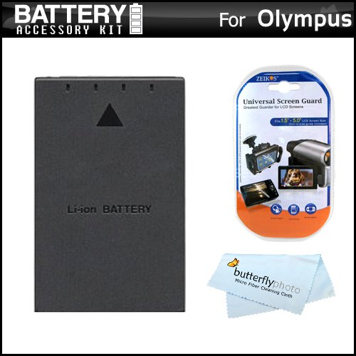Battery Kit For Olympus PEN E-PL5, E-PM2, E-620, E-PL1, E-P1, E-P2, E-PL2, E-P3, E-PL3, E-PM1 Digital Camera Includes Extended Replacement (1400Mah) BLS-1, BLS-5 Battery + LCD Screen Protectors + MicroFiber Cleaning Cloth ()
