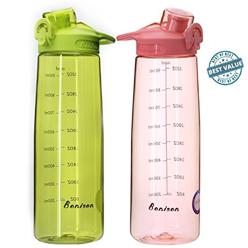 BONISON Wide Mouth Sports Water Bottle Flip Top Lid With Handle, Leak Proof, Bpa Free, Various Capacity. Perfect for Travel Yoga Running Outdoor Cycling Hiking Or Camping (Green + Pink 2 Pack)