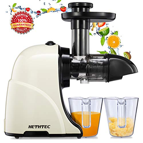 Masticating Juicer Machines, Hethtec Slow Cold Press Juicer Quiet Motor, Reverse Function, High Yield Juice Extractor with Brush for Fruits and Vegetables, Easy to Clean, BPA-Free