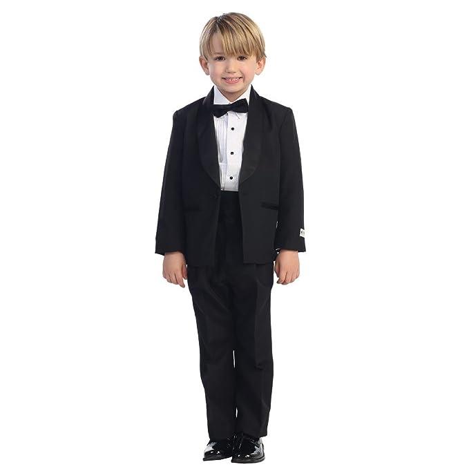 4aeb37afd3e Tip Top Kids Big Boys Black No Tail Round Shawl Collar Elegant 5 Pc Tuxedo  Suit