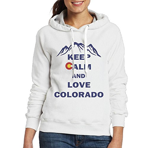 Grhoodie1 Keep Calm and Love Colorado Women's Long Sleeve Pullover Hooded Sweatshirt White Size M