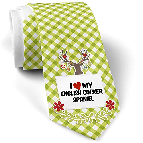 Green Plaid Christmas Neck Tie I Love my English Cocker Spaniel Dog from England gift for men