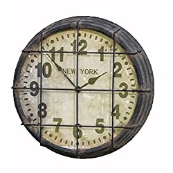 Vintage Inspired Industrial Large round CAGED SUBWAY CLOCK gym wall clock