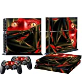 Mod Freakz Console and Controller Vinyl Skin Set - Red Ninja Snake Cat for Playstation 4
