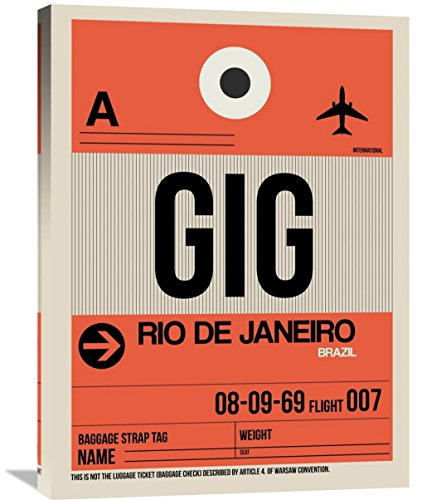 "Naxart Studio ""GIG Rio De Janeiro Luggage Tag 2"" Giclee on Canvas, 24"" by 1.5"" by 32"" from Naxart Studio"