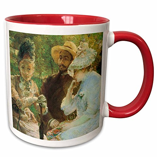 (3dRose BLN Impressionist Fine Art Collection - On the terrace at Sevres by Marie Bracquemond - 15oz Two-Tone Red Mug (mug_127307_10))