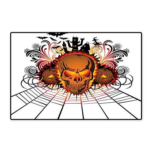 Halloween Door Mats for Inside Angry Skull Face on Bonfire Spirits of Other World Concept Bats Spider Web Design Floor mat Bath Mat 20