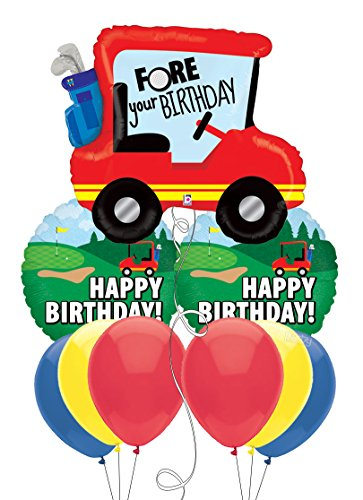 Golf Fore Your Birthday Golf Cart Balloon
