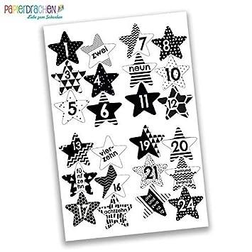 Papierdrachen 24 Adventskalender Zahlen Aufkleber Schwarz Weiße Sterne Nr 40 Sticker Zum Basteln Und Dekorieren