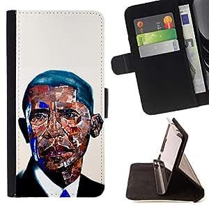 GIFT CHOICE / Billetera de cuero Estuche protector Cáscara Funda Caja de la carpeta Cubierta Caso / Wallet Case for Apple Iphone 6 PLUS 5.5 // Cool Mosaic Black Man President Portrait //