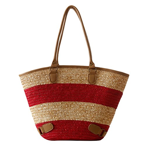 Large Zhuhaitf High ventes Woven red PU Bags Simple Capacity Bag Quality Straw Striped Hot Style Womens Beach xXqXCnrERw
