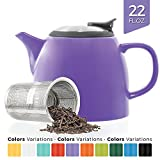 Tealyra - Drago Ceramic Small Teapot Purple - 22oz (2-3 cups) - With Stainless Steel Lid and Extra-Fine Infuser for Loose Leaf Tea - Lead-free - 650ml