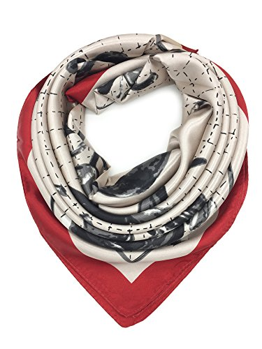YOUR SMILE Silk Like Scarf Women's Fashion Pattern Large Square Satin Headscarf Head Dress,Bronze,horseshoe(204)