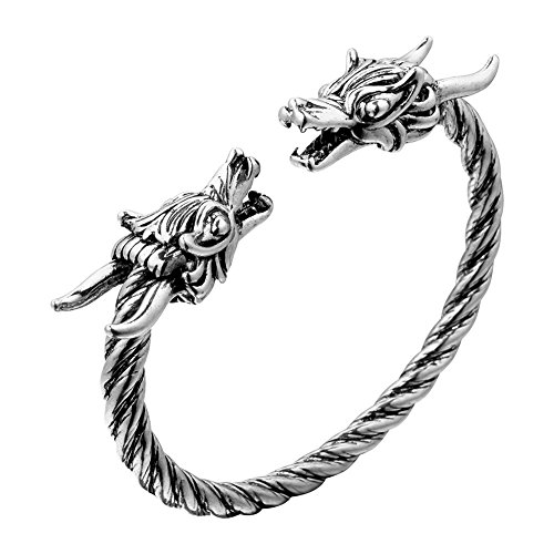 Unisex Sterling Silver Plated Double Dragon Head Cuff Open Adjustable spiral Bracelet,65MM
