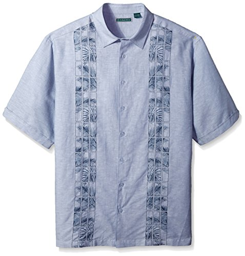 Cubavera Men's Short Sleeve Linen-Blend Shirt with Embroidered Print Panels, Ashley Blue, Large ()