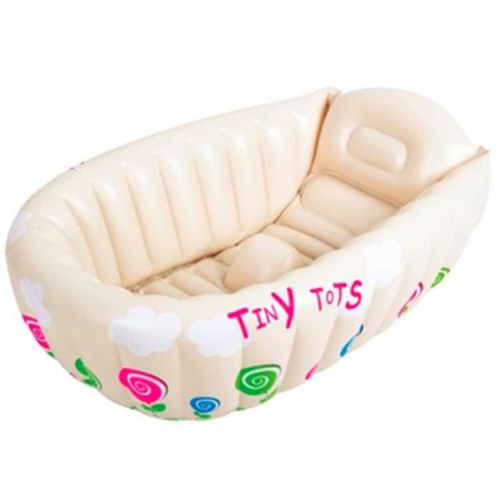 Inflatable Tiny Tots Baby Bath Hot Tub with Heat Sensor for Infant Showering & Washing Travel Tub by Crystals®