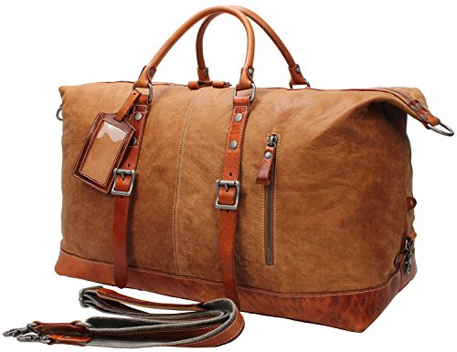 Iblue Genuine Leather Weekender Overnight Bag Travel Luggage Gym Totes #B001 (XL, light brown) by iblue
